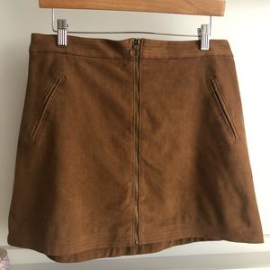 Abercrombie brown faux suede skater skirt
